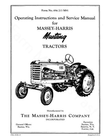 Massey-Harris 23 and 23K Mustang Tractor Manual