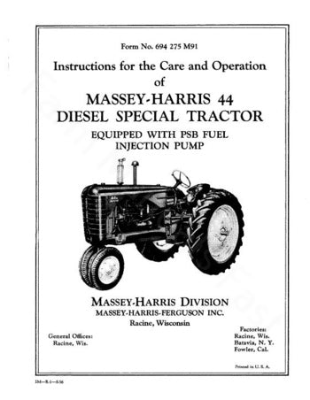 wiring for a massey harris tractor massey harris 44 and 44 special tractor manual farm manuals fast  massey harris 44 and 44 special tractor