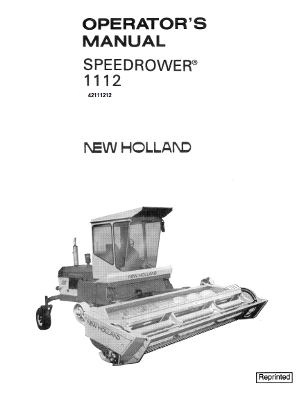 New Holland 1112 Speedrower Manual
