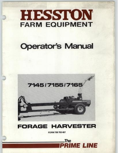 Hesston 7145, 7155, and 7165 Forage Harvester Manual