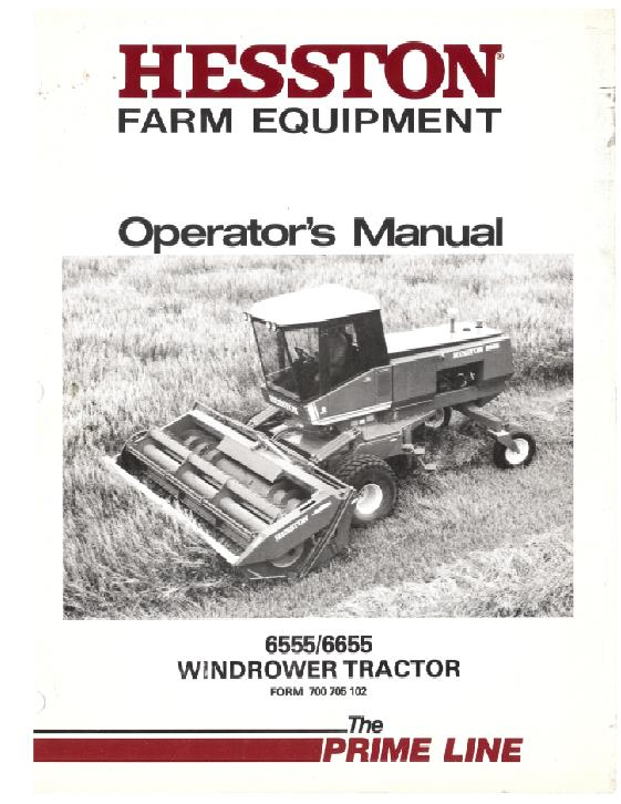 Hesston 6555 and 6655 Windrower Manual