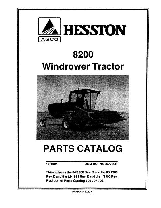 Hesston 8200 Windrower Tractor - Parts Catalog | Farm