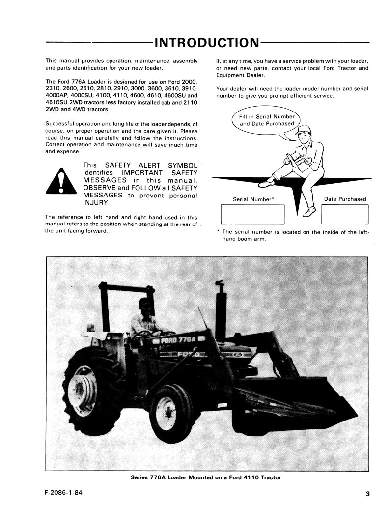 Ford 776A Series Loader Manual