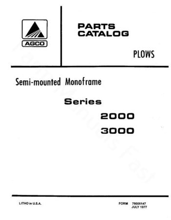 Allis Chalmers 2000 Series And 3000 Series Semi Mounted Plow Parts