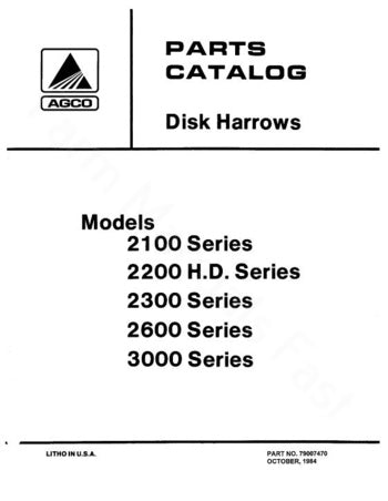 Allis Chalmers 2100 2200 2300 And 2600 Disc Harrow Parts Manual