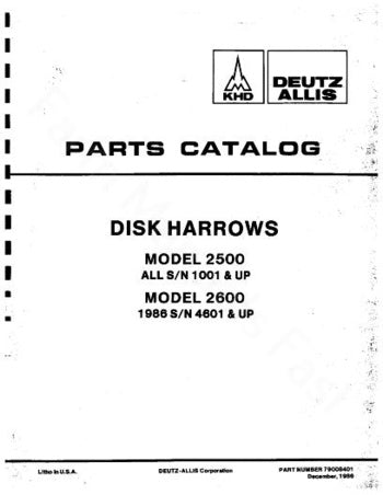 Allis-Chalmers 2500 and 2600 Disc - Parts Manual