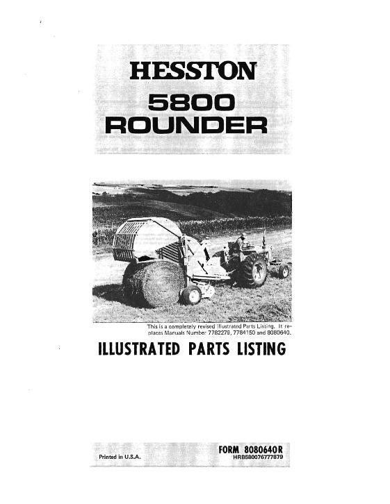 Hesston 5800 Round Baler - Parts Catalog