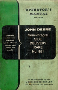 John Deere Semi Integral Side Delivery Rake Operator's Manual