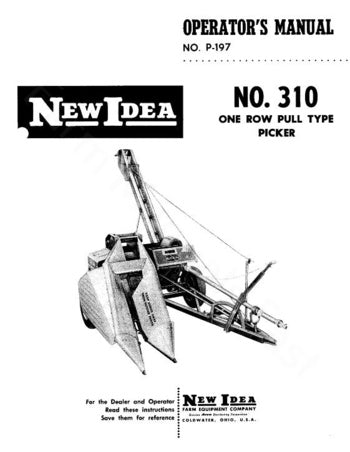 New Idea 310 Picker Manual