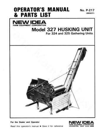 New Idea 327 Husking Unit Manual