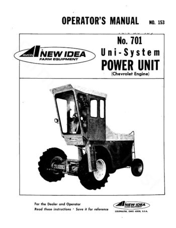 New Idea 701 Harvester Power Unit Manual