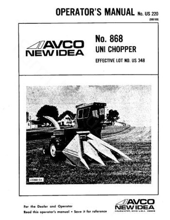 New Idea 868 Chopper Manual