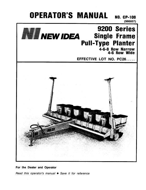 New Idea 9200 Planter Manual
