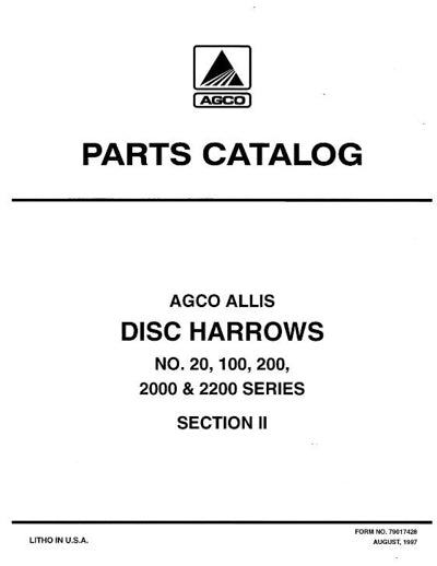 Allis-Chalmers 20, 100, 200, 2000, and 2200 Series Disc - Parts Manual