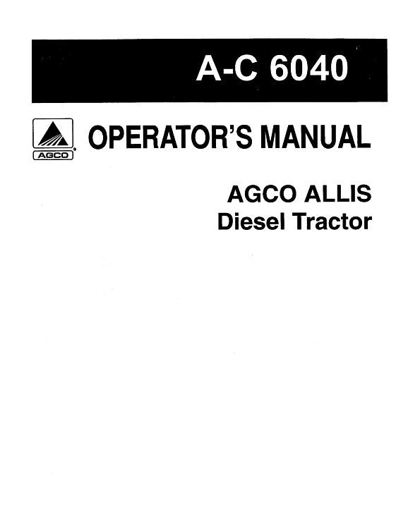 Allis-Chalmers 6040 Tractor Manual