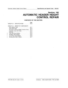 "John Deere 6620, SideHill 6620, 7720 and 8820 Combine ""Automatic Header Height Control Repair"" - Technical Manual"