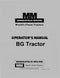 Minneapolis-Moline BG Tractor - Operator's and Repair Manual