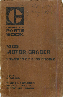 Caterpillar 140G Motor Grader - Parts Book