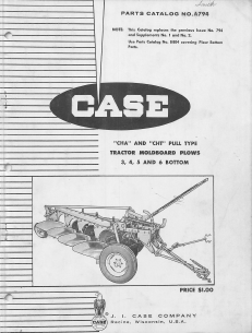 Case CHA and CHT Moldboard Plow - Parts Catalog