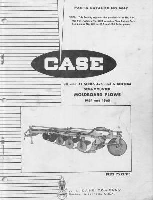 Case JRA and JTA Series Moldboard Plow - Parts Catalog