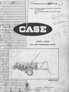 Case Model A Series Plow - Parts Catalog