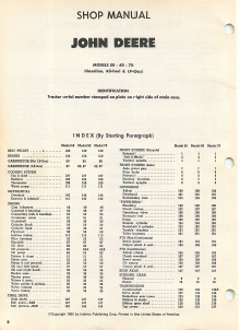 John Deere 50, 60, and 70 Tractor - Service Manual