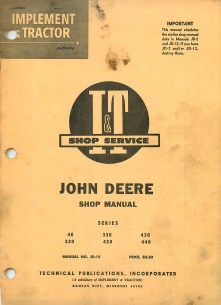 John Deere 40, 320, 330, 420, 430, and 440 Tractors - Service Manual