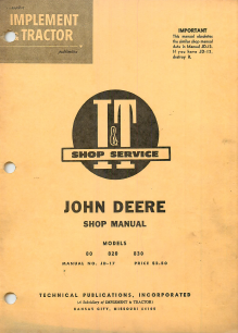 John Deere 80, 820, and 830 Tractor - I&T Service Manual