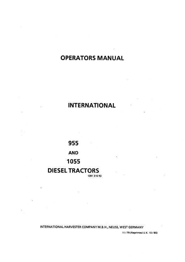international 955 and 1055 diesel tractors manual farm manuals fast rh farmmanualsfast com Case IH Tractor Wallpaper Case IH AF-S