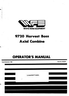 MF/ White 9720 Harvest Boss Axial Combine Manual