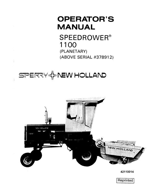 New Holland 1100 Speedrower Manual