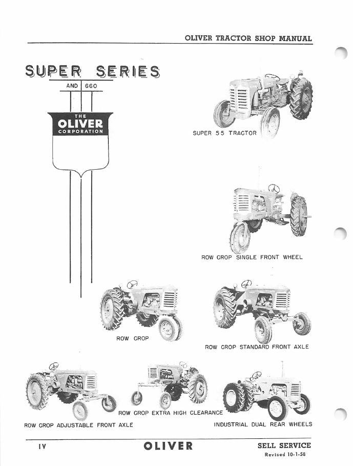 Oliver 55, 66, 77, 88, 550, 660, 770, and 880 Tractors