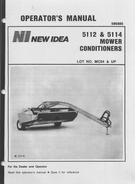 New Idea 5112 and 5114 Mower Conditioner Manual