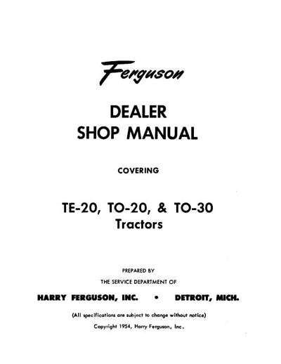 Ferguson TE-20, TO-20, and TO-30 - Service Manual
