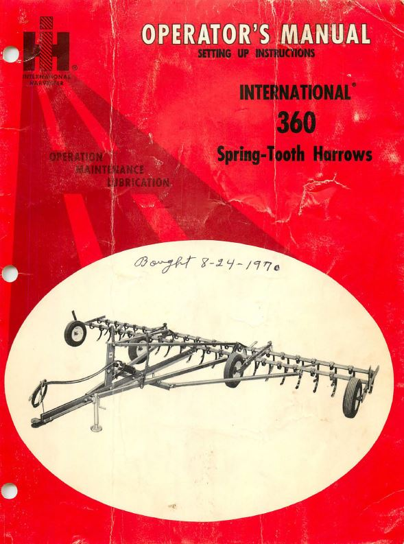 International 360 Spring-Tooth Harrows Manual