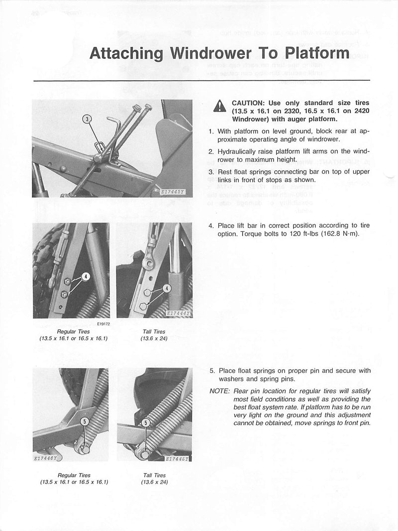 Additional pictures of the John Deere 2320 and 2420 Windrower Manual.