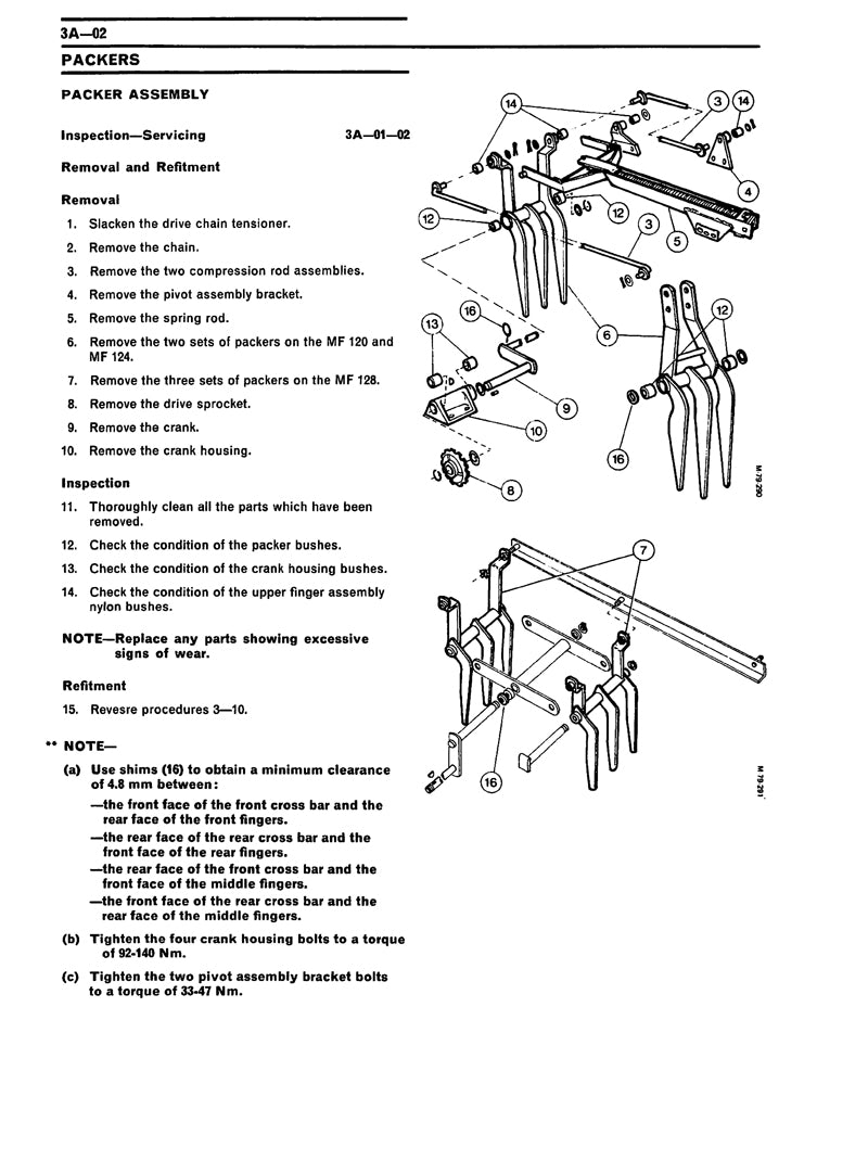 ... Additional pictures of the Massey Ferguson 120, 124, and 128 Baler -  Service Manual
