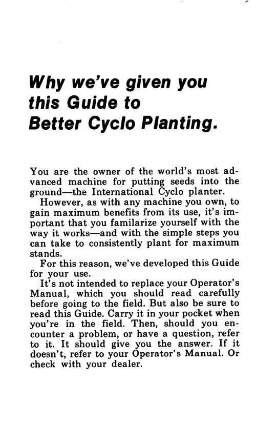 International Guide to Better Cyclo Planting - Guide Book