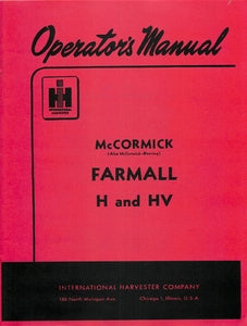International Farmall H and HV Tractor Manual