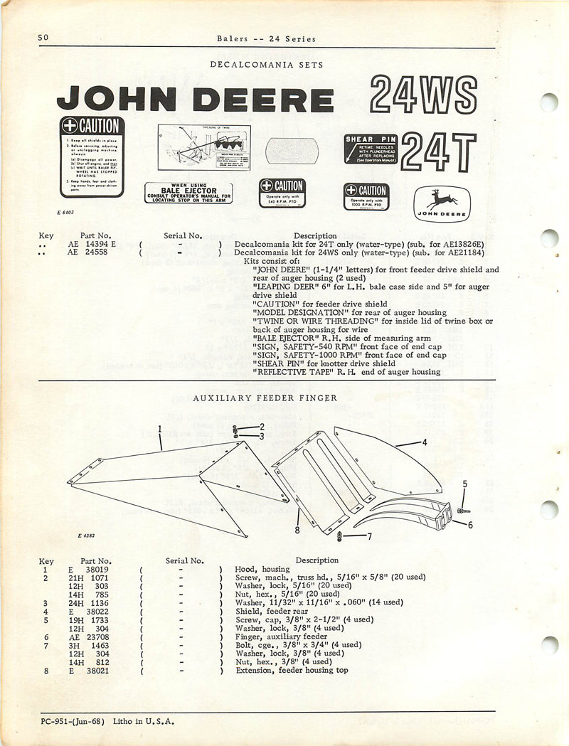 John Deere 24T and 24WS Baler - Parts Catalog