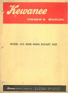 Kewanee Model 455 Wide Wing Rotary Hoe Manual