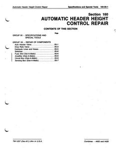 "John Deere 4400 and 4420 Combine ""Automatic Header Height Control Repair"" - Technical Manual"