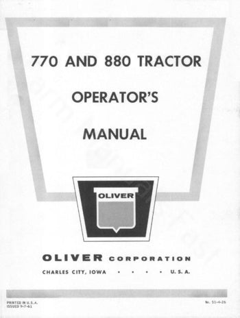 Oliver 770 and 880 Tractor Manual