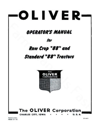 Oliver 88 Row crop and 88 Standard Tractor Manual