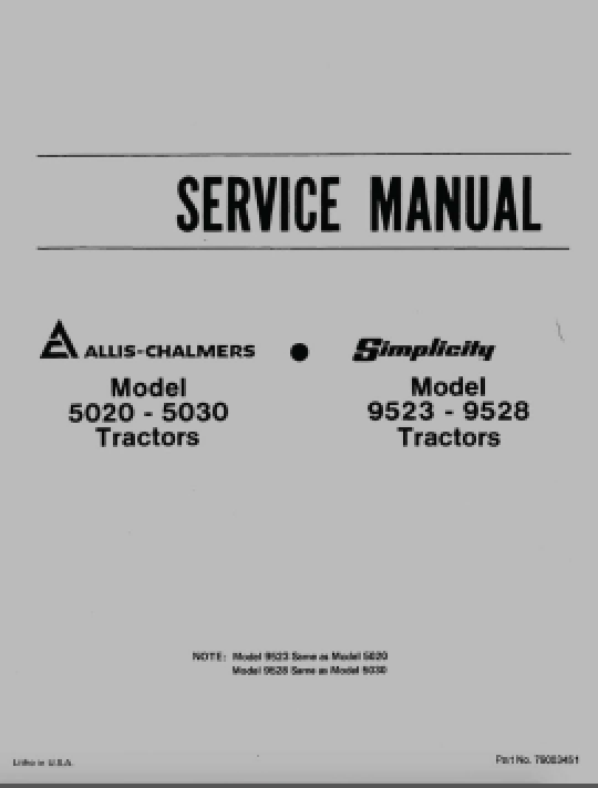 Allis-Chalmers 5020 and 5030 Tractor - Service Manual