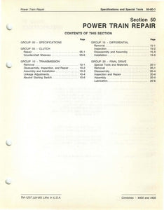 "John Deere 4400 and 4420 Combine ""Power Train Repair"" - Technical Manual"