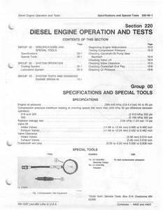 "John Deere 4400 and 4420 Combine ""Diesel Engine Operation and Tests"" - Technical Manual"