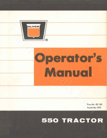 Oliver 550 Gas and Diesel Tractor Manual