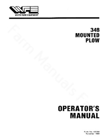 New Idea 348 Plow Manual