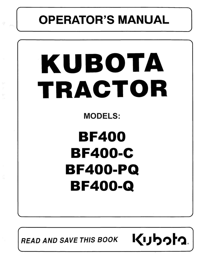 Kubota BF900 Loader Attachment Manual